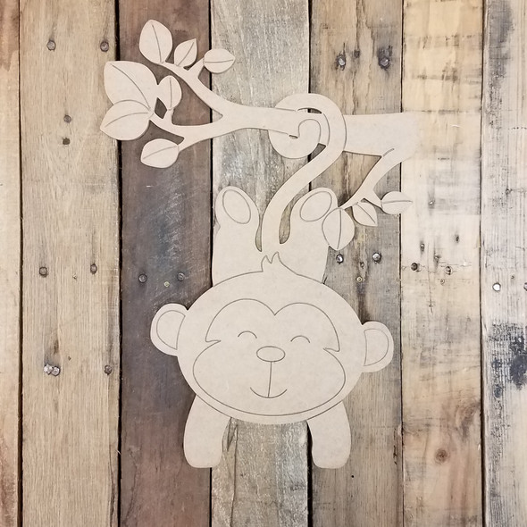 Hanging Baby Monkey Cutout, Unfinished Craft, Paint by Line