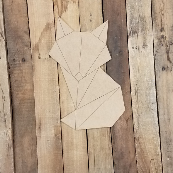 Geometric Art Forest Fox, Unfinished Wood Shape, Paint By Line