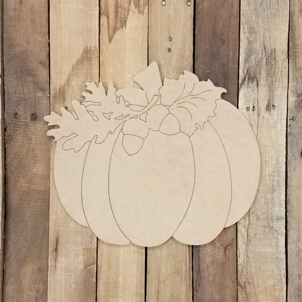 Pumpkin with Leaves and Acorn, Unfinished Shape, Paint by Line