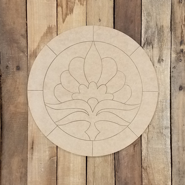 Lotus Flower Geometric Art Circle, Unfinished Wood Shape, Paint By Line