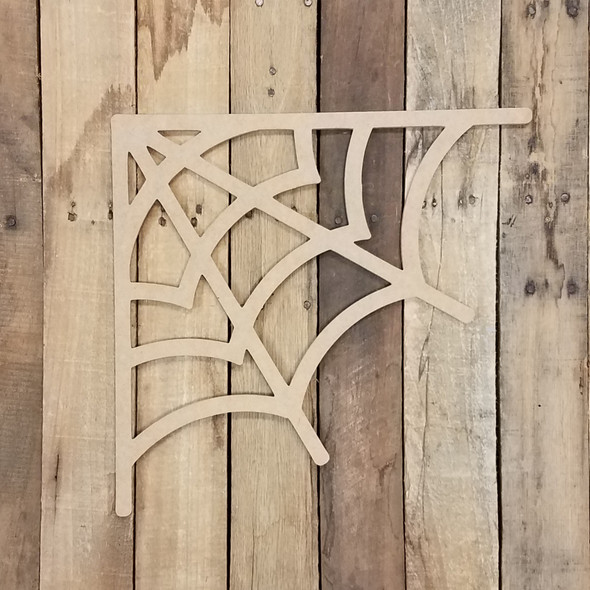 Corner Spiderweb Halloween Craft, Unfinished Wood Shape