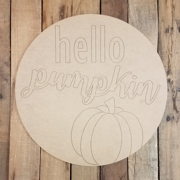 Hello Pumpkin Fall Decor Circle, Wooden Shape, Paint by Line