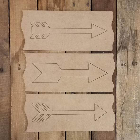 Decorative Arrow Plank 3 Piece Set, Wood Cutout, Shape, Paint by Line