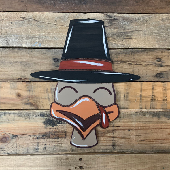 Thanksgiving Turkey With Hat Cutout, Wood Shape, Paint by Line