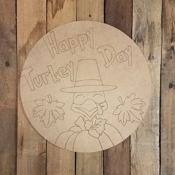 Happy Turkey Day Circle, Wood Shape, Paint by Line
