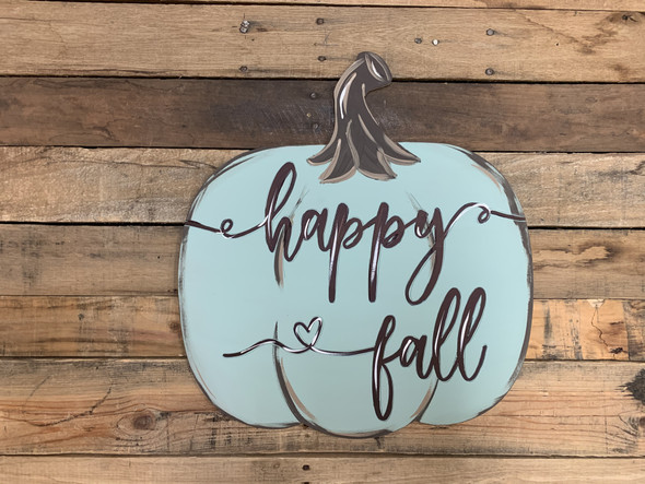 Happy Fall Phrase Pumpkin, Unfinished Shape, Paint by Line