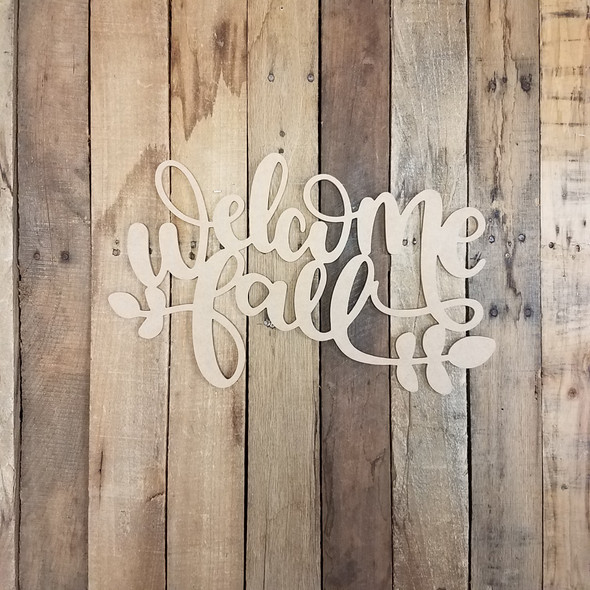 Welcome Fall Phrase, Unfinished Craft Word Paintable DIY