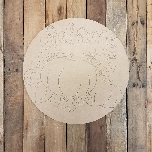 Welcome Pumpkin Fall Decor Circle, Wooden Shape, Paint by Line