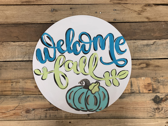 Welcome Fall Pumpkin Decor Circle, Wooden Shape, Paint by Line