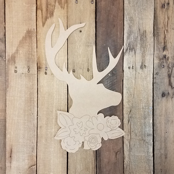 Deer Head with Floral Cluster, Wood Cutout, Paint by Line