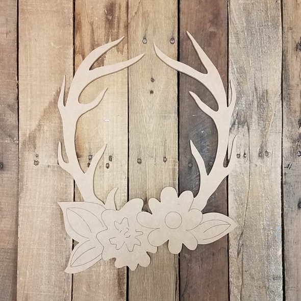 Deer Antler Rack with Flowers Wood Cutout, Paint by Line