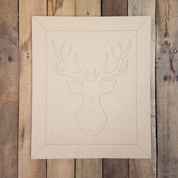 Framed Christmas Reindeer Portrait, Paint by Line Wood Shape