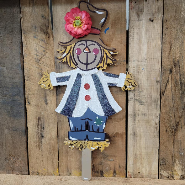 Scarecrow Man on Post, Fall Unfinished Craft, Paint by Line
