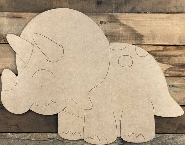 Triceratops Dinosaur Cutout, Unfinished Wall Decor Paint by Line