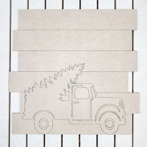 Truck with Tree Shiplap, Wood Cutout, Paint by Line
