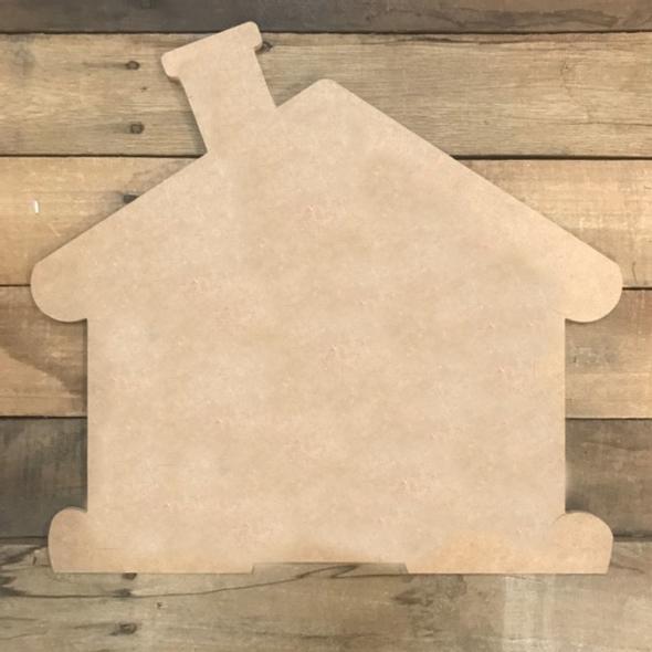 Pine Shape, Gingerbread House, Unpainted Wood Cutout Craft