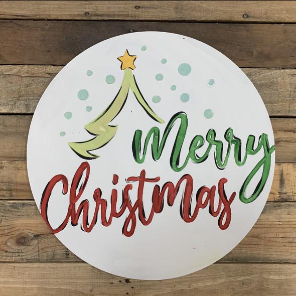Merry Christmas Tree Decor Circle, Wood Cutout, Shape, Paint by Line