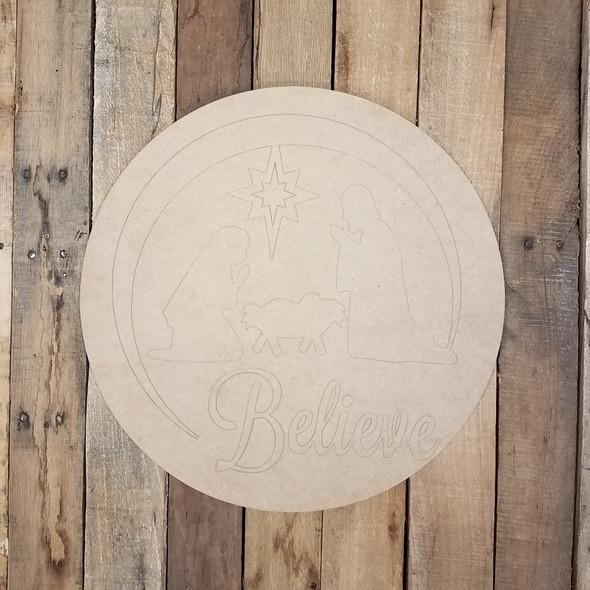Believe Nativity Scene Circle, Wooden Shape, Paint by Line