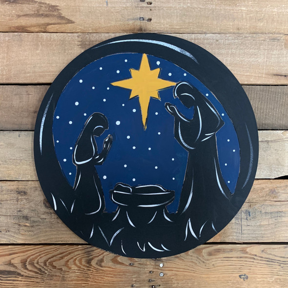Nativity Scene Decorative Circle, Wooden Shape, Paint by Line