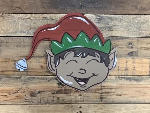 Happy Elf Face, Wood Cutout, Shape, Paint by Line