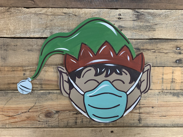 Elf Face With Mask, Wood Cutout, Shape, Paint by Line