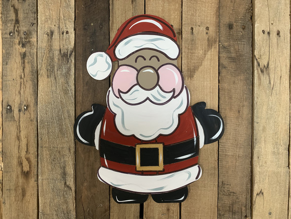 Chubby Short Santa, Unfinished Wooden Craft, Paint by Line