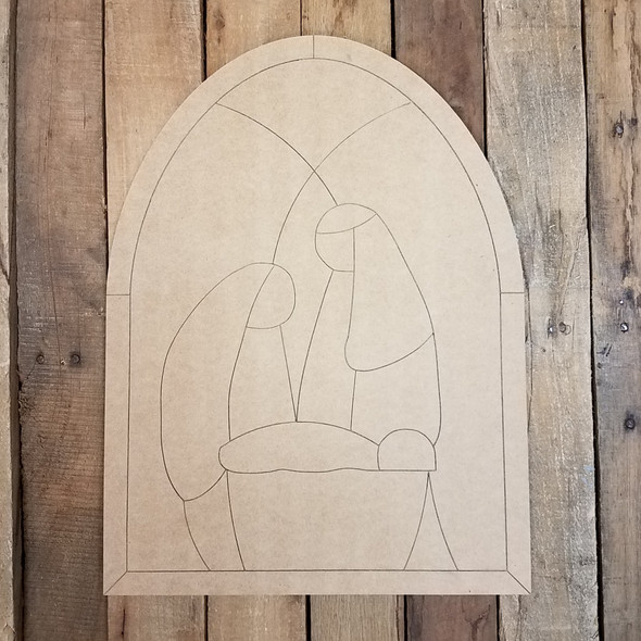 Stained Glass Nativity Scene, Wooden Shape, Paint by Line
