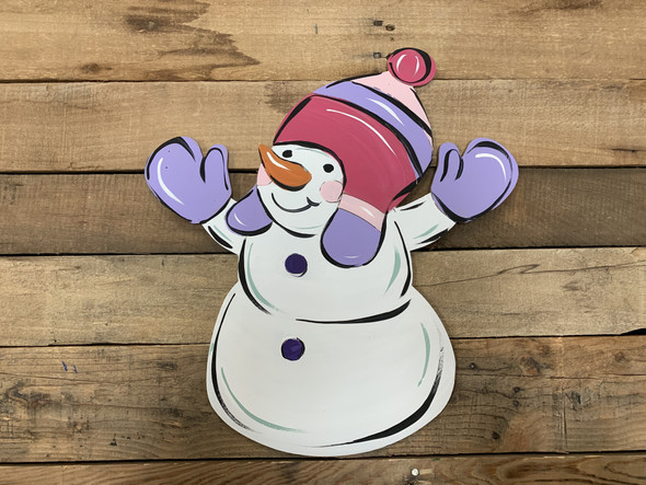 Snowman With Cap and Mitts Unfinished Shape, Paint by Line