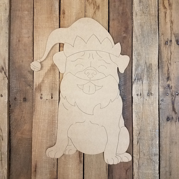 Christmas Elf Pug, Wood Cutout, Shape, Paint by Line