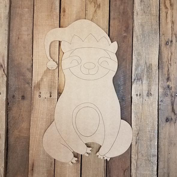 Christmas Elf Sloth, Wood Cutout, Shape, Paint by Line