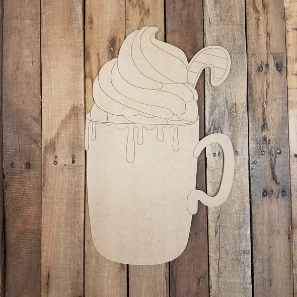 Hot Cocoa Drink, Wood Cutout, Shape, Paint by Line