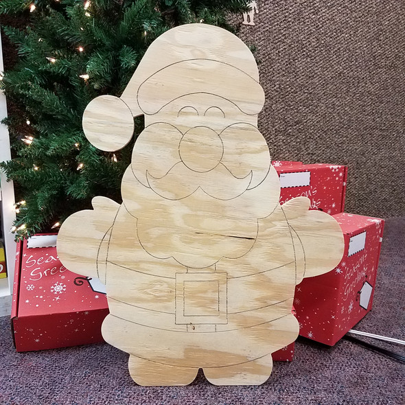 Chubby Short Santa, Unfinished Large Pine Yard Display Art, Photo Prop