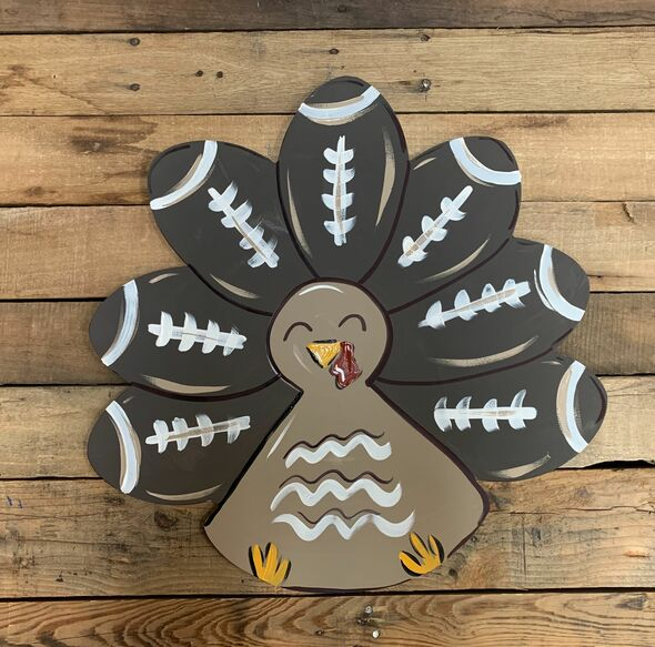 Unfinished Football Turkey, DIY Wooden Craft Shape