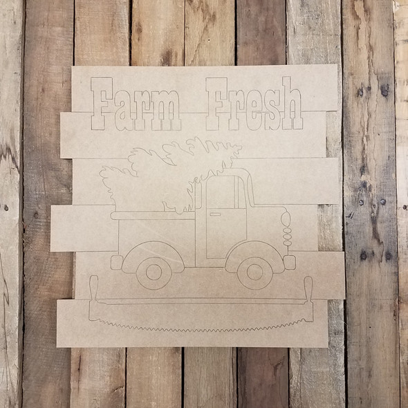 Farm Fresh Christmas Shiplap, Wood Cutout, Shape, Paint by Line