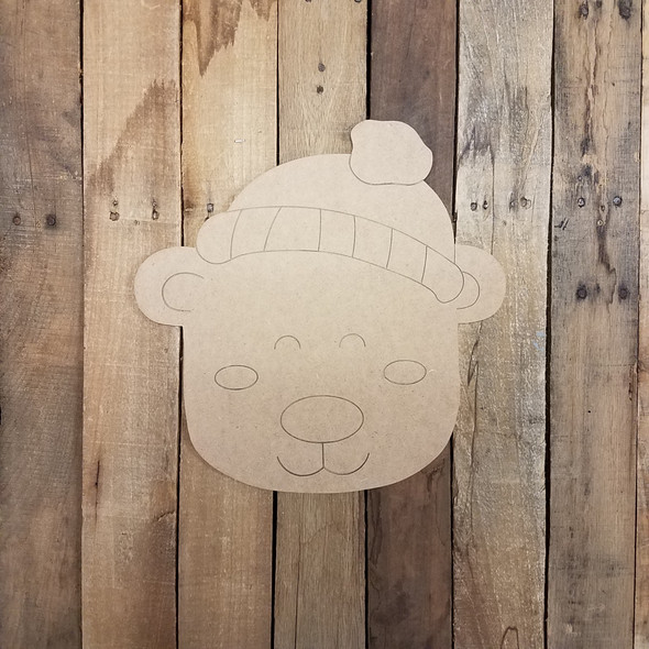 Cute Polar Bear with Hat Cutout, Unfinished Craft Shape, Paint by Line WS