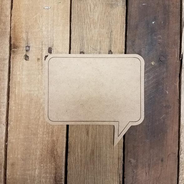 Blank Square Speech bubble, Paint by Line Wooden Shape
