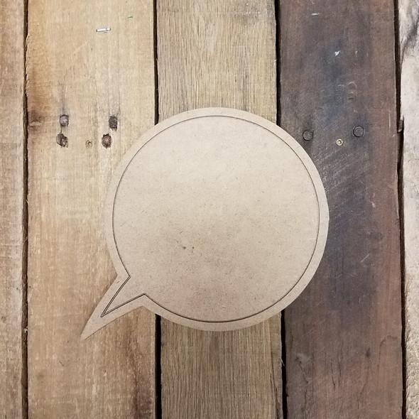 Blank Circle Speech bubble, Paint by Line Wooden Shape
