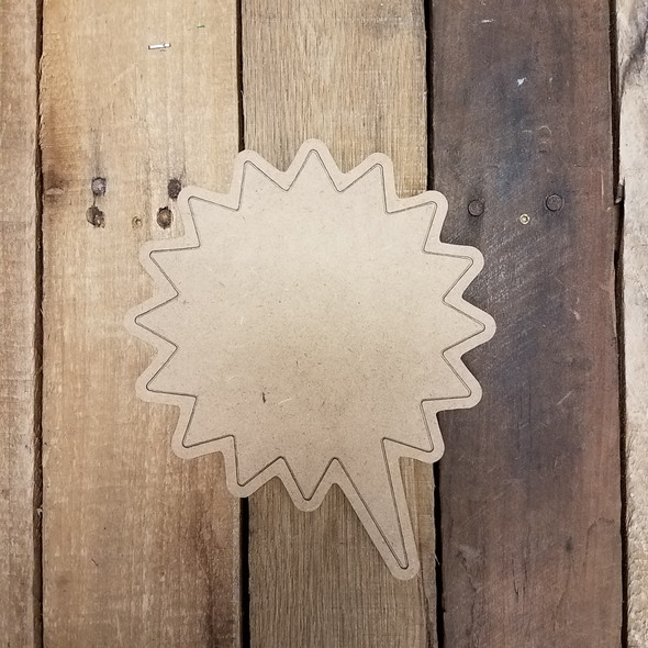 Blank Starburst Speech bubble, Paint by Line Wooden Shape