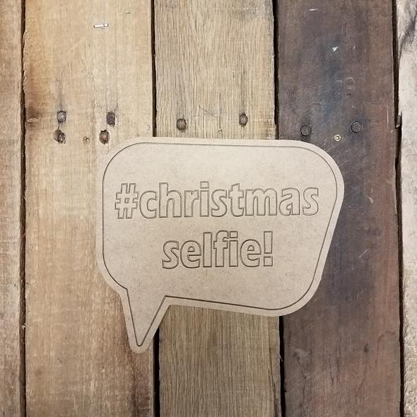 Christmas Selfie Speech bubble, Paint by Line Wooden Shape