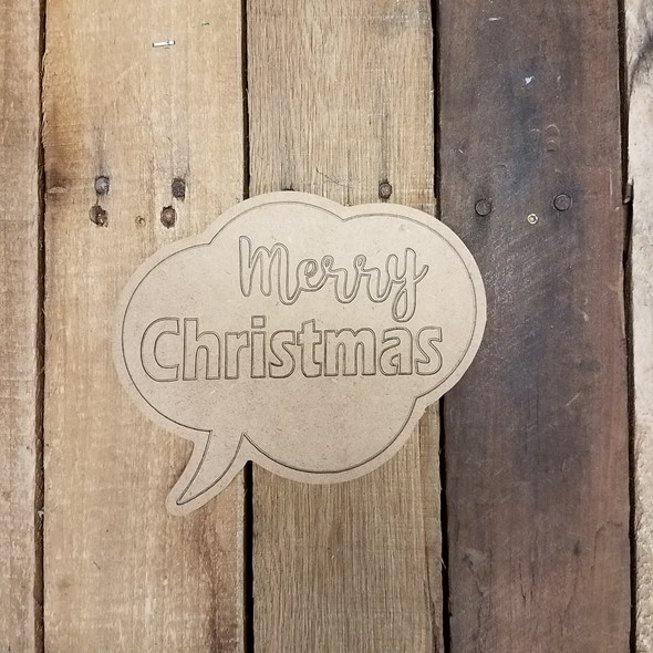 Merry Christmas Speech Bubble, Paint by Line Wooden Shape
