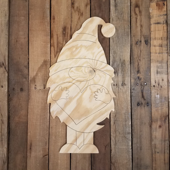 Valentine's Gnome Holding Heart, Large Pine Yard Display, Photo Prop