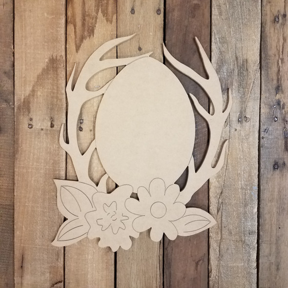 Easter Egg in Floral Deer Antler Rack Wood Cutout, Paint by Line