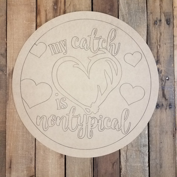 My Catch is Nontypical Valentine Circle Cutout, Shape, Paint by Line