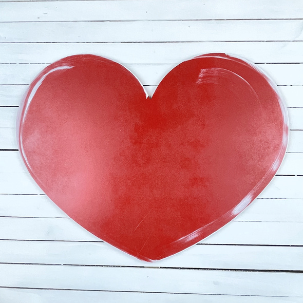 Wide Valentine Heart Unfinished Cutout, Wooden Craft Shape