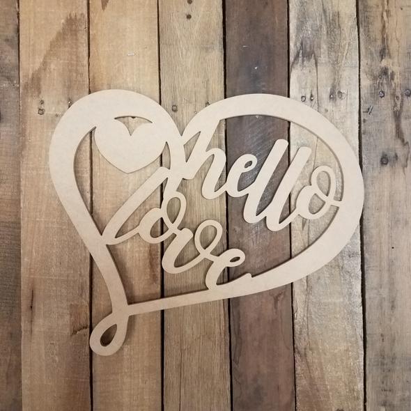 Valentine Hello Love Word Heart Outline, Wooden Unfinished DIY Craft