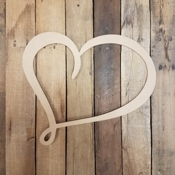 Valentine Heart Outline, Wooden Unfinished DIY Craft