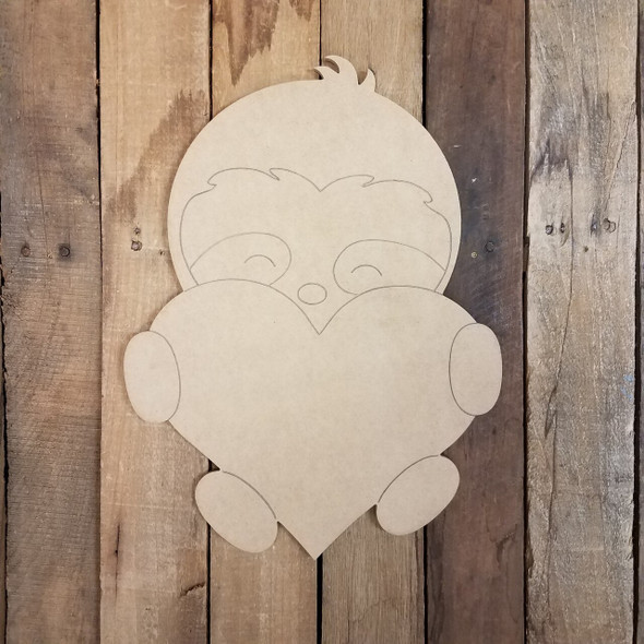 Cute Valentine Sloth with Heart Cutout