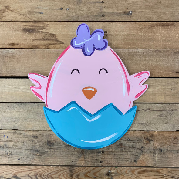 Hatching Easter Baby Chick Cutout, Unfinished Decor DIY Paint by Line