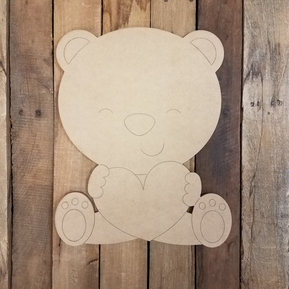 Sitting Bear with Heart-Paint By Line
