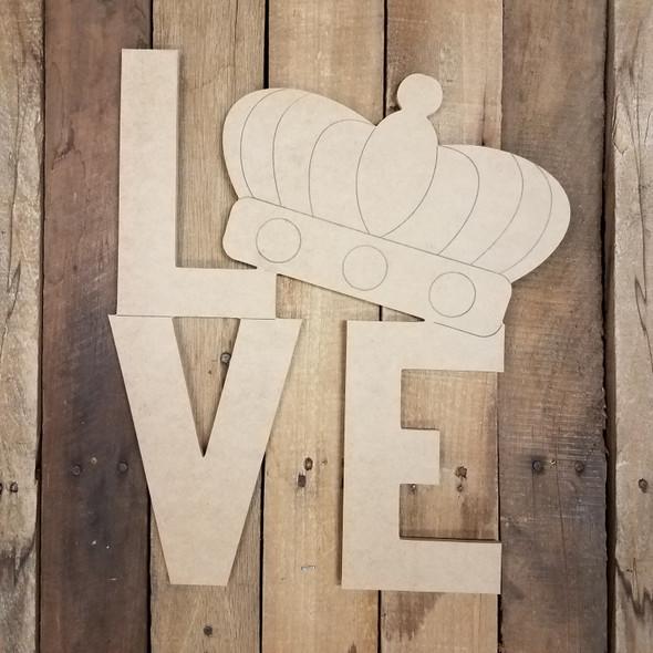 Love Block Letter Mardi Gras Crown Shape, Paint by Line